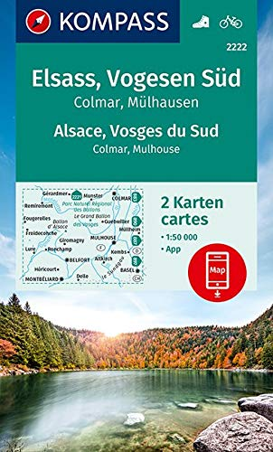 KV WK 2222 Elsass, Vogesen Süd (2-K-Set): 2 Wanderkarten 1:50000 im Set inklusive Karte zur offline Verwendung in der KOMPASS-App. Fahrradfahren. (KOMPASS-Wanderkarten, Band 2222)