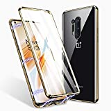 ZHIKE Oneplus 8 Pro Case, Magnetic Adsorption Case Front and Back Tempered Glass Full Screen Coverage One-Piece Design Flip Cover for Oneplus 8 Pro(Upgraded Version-Clear Gold)