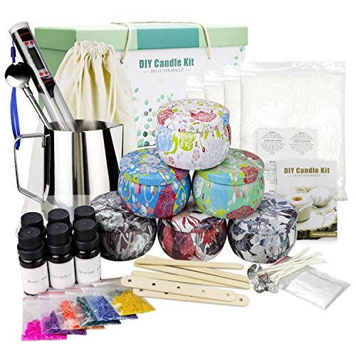 TOFU Kit de Fabricación de Velas, Hacer 6 Velas Grandes de Soja Perfumadas, Cera de Soja, Aromas Ricos, Tintes, Termómetro, Mechas, Jarra de Fusión, Latas Y más