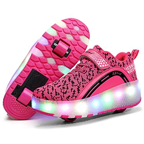 Nsasy Roller Shoes Girls Boys Wheel Shoes Kids Roller Skates Shoes LED Light Up Wheel Shoes for Kids for Children