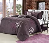 Chic Home CHIELA Oversized and OVERFILLED 8 PCS Comforter Set, King Size, Plum