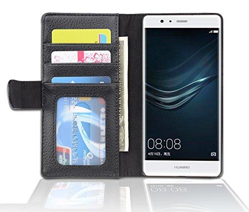 Cadorabo Funda Libro para Huawei P9 Lite en Negro ÓXIDO – Cubierta Proteccíon con Cierre Magnético e 3 Tarjeteros – Etui Case Cover Carcasa