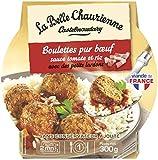 La Belle Chaurienne Boulettes pur bœuf Sauce tomate et riz avec des petits lardons, 300 g