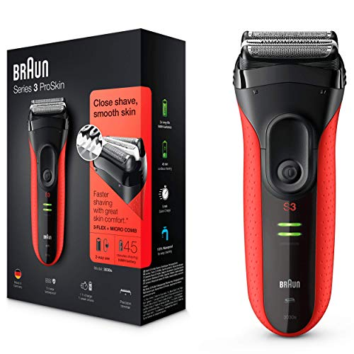 Braun Series 3 ProSkin 3030 S Afeitadora Eléctrica Hombre, para la Barba, con Recortadora de Precisión Extraíble, Recargable, Resistente al Agua, Roja