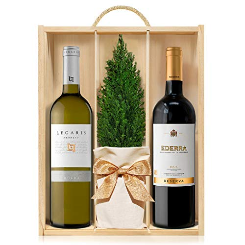 Lote Gourmet Regalo Navidad Bodega Rioja Reserva & Verdejo con arbolito navideño, vino tinto y vino blanco en caja de madera con tapa y asa