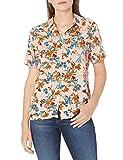 Amazon Brand - 28 Palms Women's 100% Rayon Hawaiian Aloha Blouse Shirt, Pink/Green Palm Leaves, Small