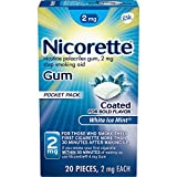Nicorette 2mg Nicotine Gum to Quit Smoking, Flavored, White Ice Mint, 20 Count (Pack of 1)
