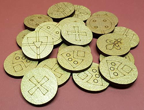 Goldmünzen 20 Stück für Schatzkisten Pirat, Ritter, Wikinger aus Holz