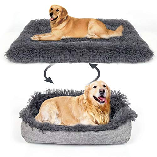 Calming Dog Bed mats, Functional 2 in 1 Soft Plush Blanket with Premium Fluffy Faux Fur for Cats and Large Medium Small Dogs
