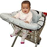 Housse de chaise haute, Fushop 2-en-1 bébé couvercle de panier d'achat étanche, couverture de panier d'épicerie avec ceinture de sécurité, positionneur de siège pour bébé, enfant en bas âge(Grand)