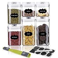 sawake set contenitori alimenti ermetici - include etichetta, cucchiaio e marcatore, 6pcs barattoli in plastica trasparente con serratura coperchi, senza bpa,perfetto per cereali, avena, pasta, ecc