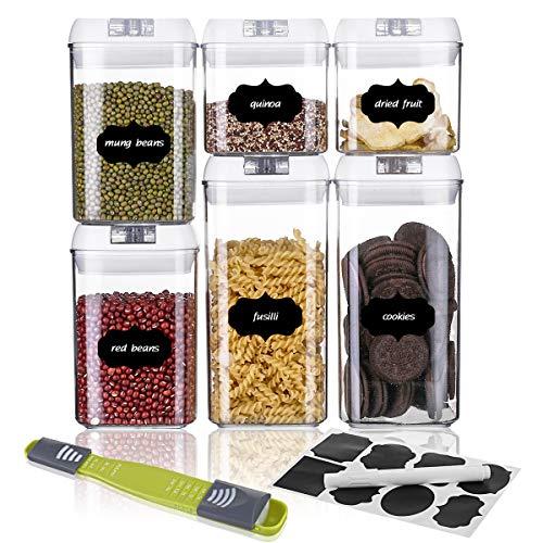 SAWAKE Lot de 6 boîtes de Conservation Alimentaires avec Couvercle hermétique en Plastique, Transparent Hermétique Ensemble de Récipient à Nourriture pour Rangement de Cuisine et d'Aliment, etc
