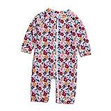 Soui Baby Mädchen Badeanzug EIN stück UV-Schutz 50+ Badekleidung MIT Einem Reißverschluss (Blume, 6-9)