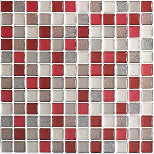 HyFanStr Adhesivo adhesivo para azulejos de pared para baño, mosaico 3D de cocina, azulejos autoadhesivos, para transferencia de azulejos extraíbles, paquete de 4