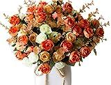 LumenTY, Confezione 2 Mazzi di Rose in Seta Artificiale, Mazzi di Fiori Finti, Festa Nuziale, Decorazione Casa, Ogni Mazzo ha 7 Rami con 21 Boccioli di Fiori Finti, Piante Vintage, Champagne