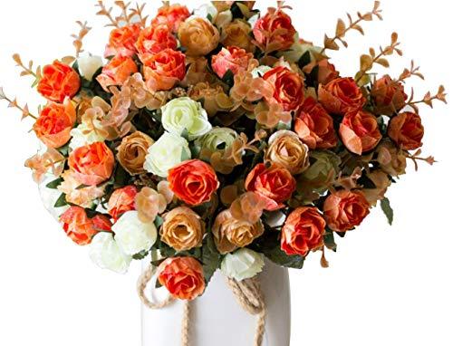 Ramo de rosas artificiales de seda de LumenTY, ideal para bodas, fiestas, cocinas y decoración del hogar, cada pack tiene 7 ramas con 21 flores falsas, diseño de hojas vintage,pack de 2 unidades, Champagne