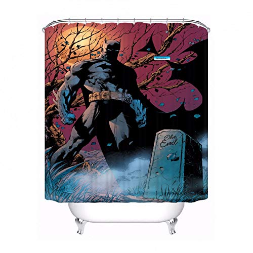 AYogg Duschvorhang Benutzerdefinierte Batman Superman Badezimmer Akzeptable Duschvorhang Polyester Stoff Badezimmervorhang