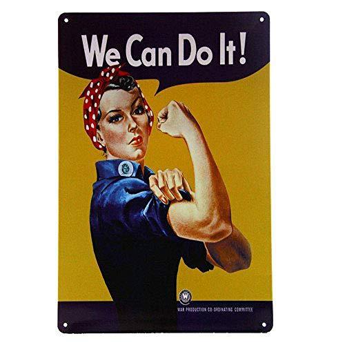 We Can Do It Girl Lámina Metal Retro Bodega