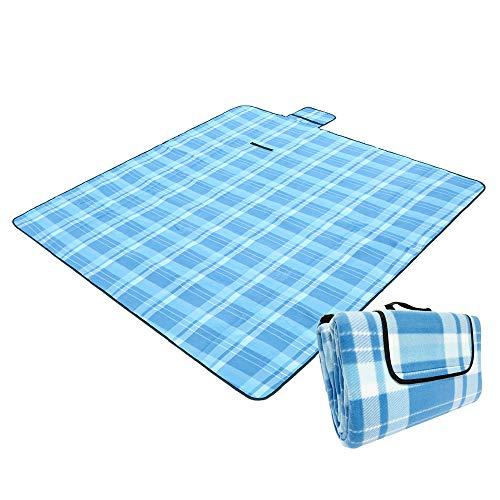 Artall Picknickdecke Stranddecke Picknickdecke Wasserdicht 200x200CM 2-6 Personen Picknickdecke XXL Campingdecke Fleece wärmeisoliert Familiengre Matte Mit Tragrgriff
