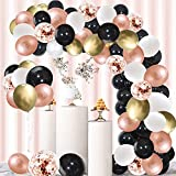 Rose Gold Black Balloons Garland Kit - 120 Pack Black White Metallic Gold and Rose Gold Confetti Latex Balloons Garland for Wedding Birthday Bridal Shower Anniversary Party Decorations
