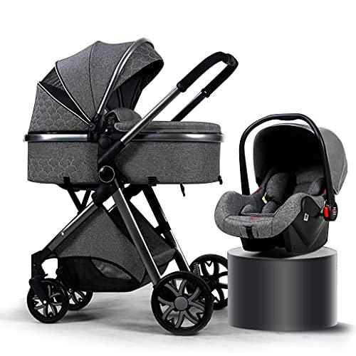 YXCKG Carrito Bebe 3 en 1 kinderkraft Silla de Paseo Cochecito de Paseo de Lujo Plegable Cochecito de bebé High View con Bolsa para mamá y mosquitera para la Lluvia (Color : Gray)