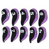 DERCLIVE 10 piezas de neopreno negro púrpura número conveniente universal suave palo de golf cubierta hierro club headcover accesorio durante el viaje al aire libre