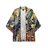 メンズカーディガンジャケットオープンフロントカーディガンマント着物ジャケットセブンスリーブルーズ浴衣,M