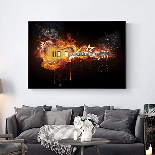 Pintura de guitarra eléctrica ardiente Impresión en lienzo...