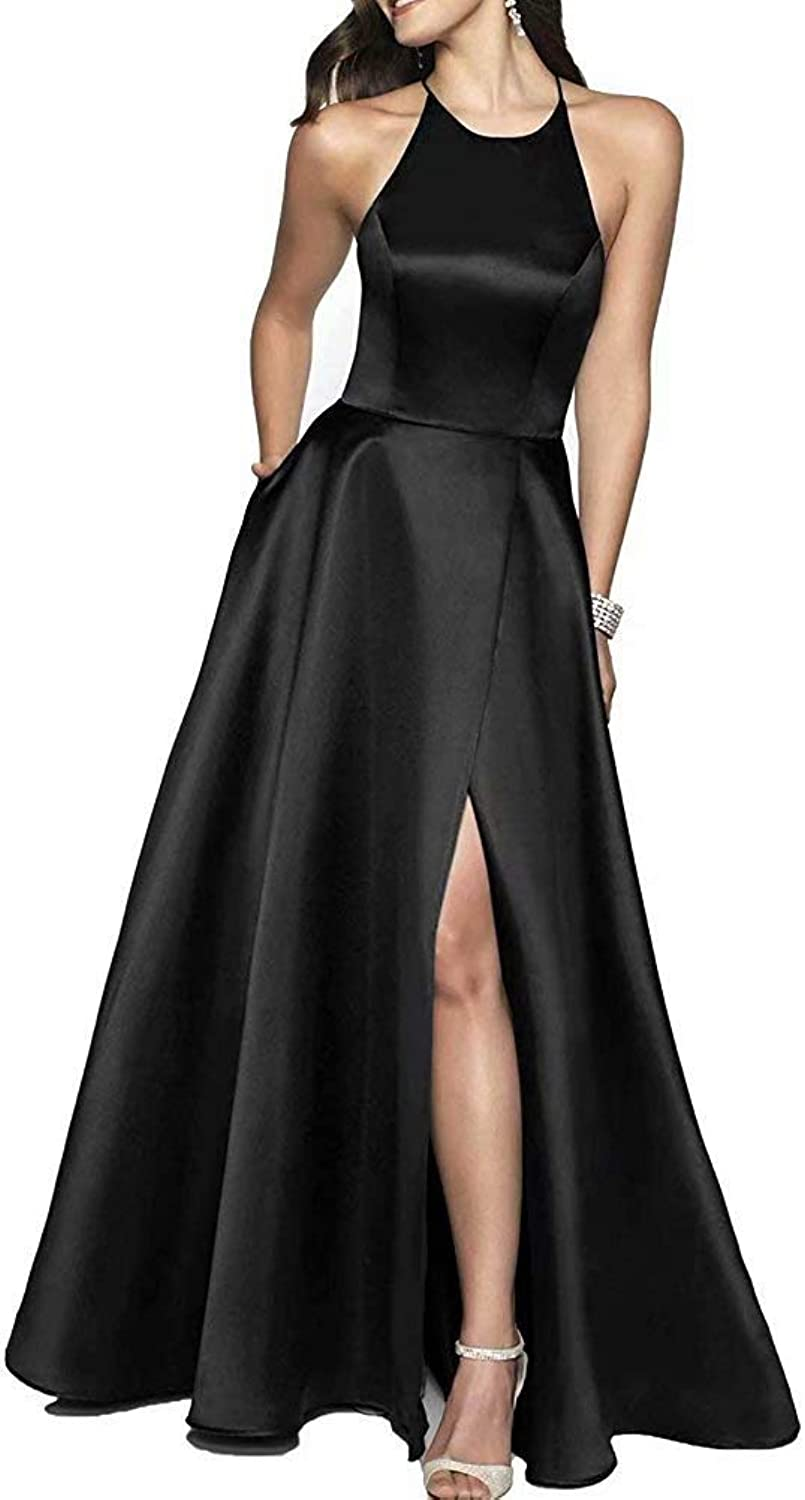 JYDX Women's Long Halter Split Prom Dresses with Pockets Formal Evening Party Gown