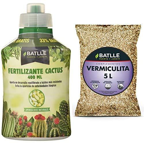 Semillas Batlle Abonos Fertilizante Cactus Botella 400ml + Sustratos Vermiculita 5L