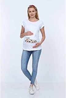 Görsin İkiz Bebek Baskılı Hamile Tişhört