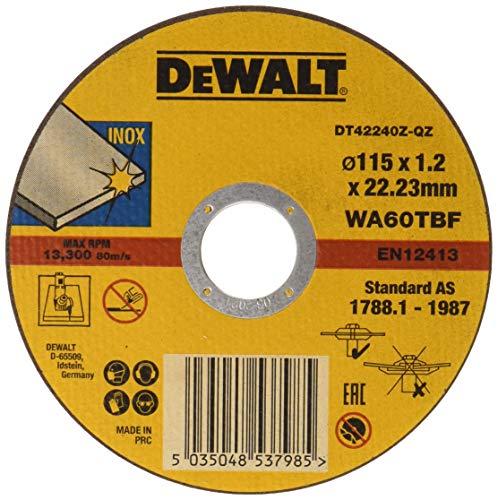 Dewalt DT42240Z-QZ DT42240Z-QZ-Disco de Corte Plano de Alto Rendimiento para Acero Inoxidable 115 x 1,2 x 22.23mm, 800 W, Set de 6 Piezas