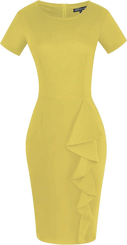 CISMARK Women's Vintage Short Sleeve Polka Dot Falbala Fold Slim Fit Pencil Dress