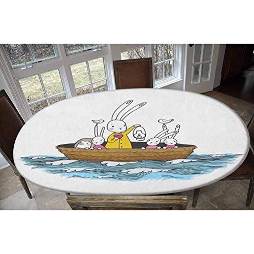 Mantel ajustable de poliéster elástico, diseño de liebre y un erizo en una aventura marina, pájaros y farol oblongo/ovalado, se adapta a mesas de hasta 48 pulgadas de ancho x 68 pulgadas de largo