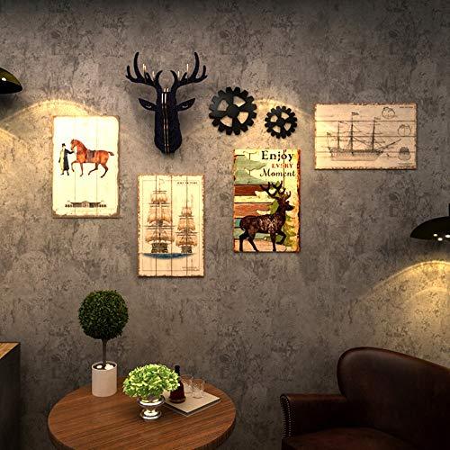 Zzyff Americano Retro Mural KTV Bar Peluquería Pintura Decorativa Pasillo Decoraciones Restaurante Pintura De Madera Colgando Pintura Sin Marco