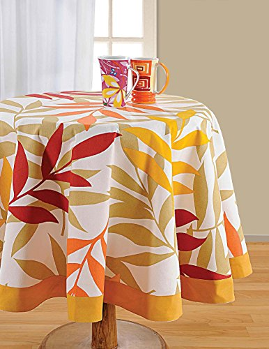 ShalinIndia Round Floral Tablecloth - 72 inches in Diameter - Tablecloths for 6 Seat Tables - Duck Cotton - Machine Washable