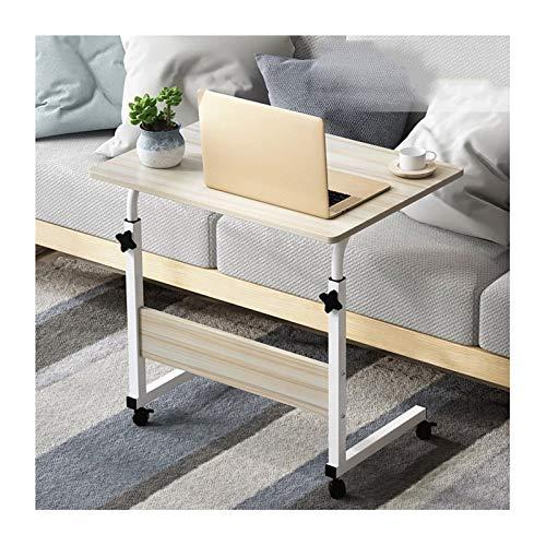 ABD Mesa de sobrecama con ruedas, mesa de vuelta móvil, escritorio, escritorio, altura ajustable, mesa auxiliar para cama, sofá, hospital, enfermería, lectura, comer (color: arce blanco)
