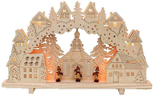 Sigro Vogtland Souvenir 10Flame Kerze Arch Seiffen 3Carving Figur Fenster selbst intern beleuchtet, beige, 33x 55x 6cm