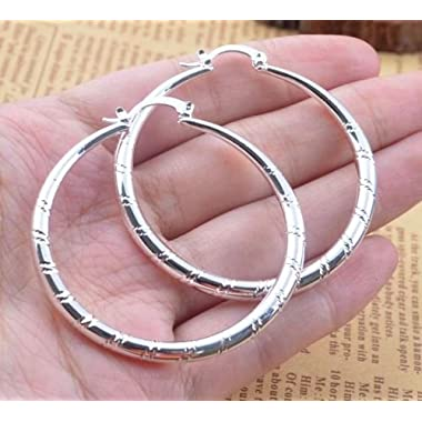 Saengthong Women Fashion 925 Sterling Solid Silver Ear Stud Hoop Earrings Wedding Jewelry