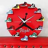 YYG Reloj de Pared Mini Zapatillas 3D, Reloj De Pared Jordan De 12, Reloj De Mini Zapatillas 3D con 1 A 12 Mini Zapatillas, Cocina del hogar y la Sala de Estar (A)
