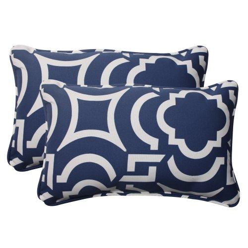 Pillow Perfect Outdoor/Indoor Carmody Navy Lumbar Pillows, 11.5' x 18.5', Blue, 2 Count