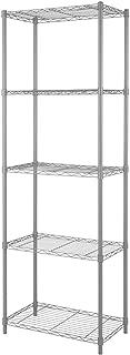 "Home-Like 5-Tier Wire Shelving Heavy Duty Shelf Metal Storage Rack Multipurpose Shelf Display Rack Freestanding Organizer Shelf 21""W x 14"" D x 61""H(5-Tier, Grey)"