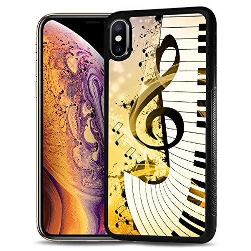 HOT12221 Schutzhülle für Samsung Galaxy A10, strapazierfähig, weiche Rückseite, Motiv: Musikzeichen, Tastatur 12221