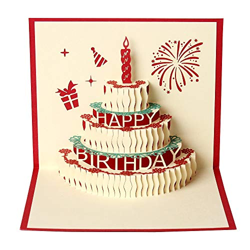 Men Women 3D Happry Birthday Cake Card Gifts for Best Friend Girl Boy Children