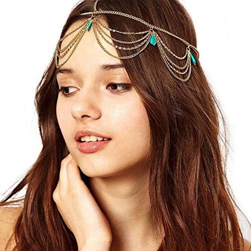GuDeKe Mädchen Einzigartige Türkis Troddel Kette Bohemian Stirnband Haarband Partei Kopfschmuck