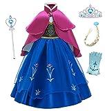 O.AMBW Anna Frozen Vestido de Princesa con Capa para Niñas Disfraces y Accesorios Cosplay Princesa D...