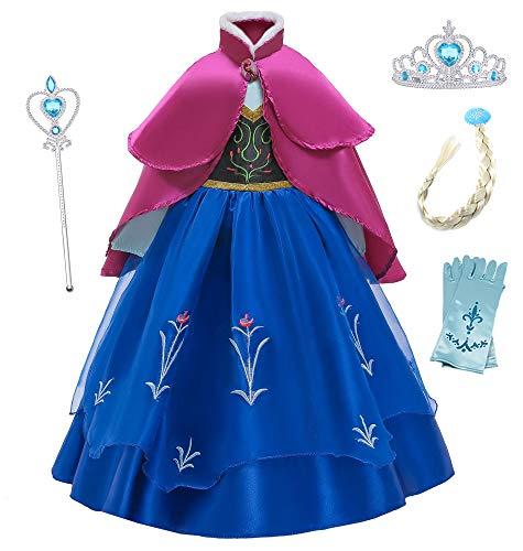 O.AMBW Anna Frozen Vestido de Princesa con Capa para Niñas Disfraces y Accesorios Cosplay Princesa Disfraz de Fiesta Halloween Carnaval Regalo Cumpleaños Navidad