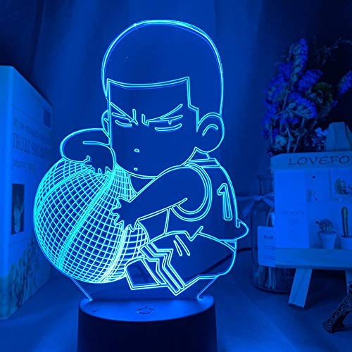 Luminária noturna de ilusão 3D para crianças Anime SLAM Dunk Hanamichi Sakuragi Figura infantil luz noturna para decoração de quarto, presente legal de aniversário, faculdade, dormitório, lâmpada de mesa Rukawa Kaede THJS HOICHAN
