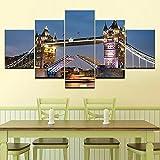 Impresión Pintura Arte 5 Piezas Impresiones En Lienzo Noche De London Bridge Cuadro sobre Lienzo Grande XXL Póster De Arte Moderno Oficina Sala De Estar O Dormitorio Decoración