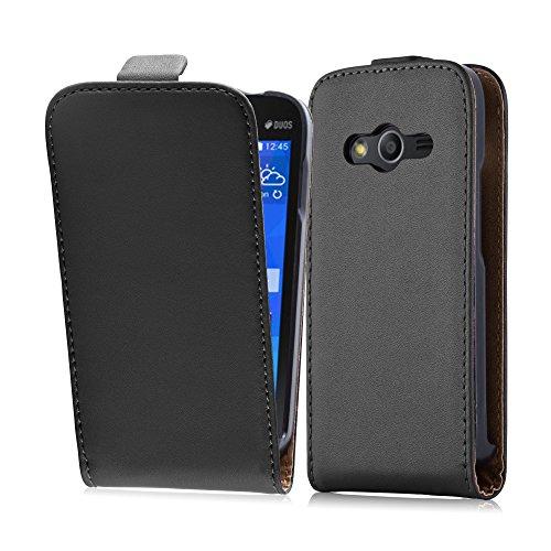 Cadorabo Hülle für Samsung Galaxy ACE 4 in KAVIAR SCHWARZ - Handyhülle im Flip Design aus glattem Kunstleder - Hülle Cover Schutzhülle Etui Tasche Book Klapp Style